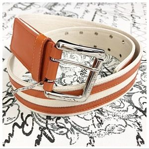 Michael Kors Stripe Leather/Cotton Belt Small